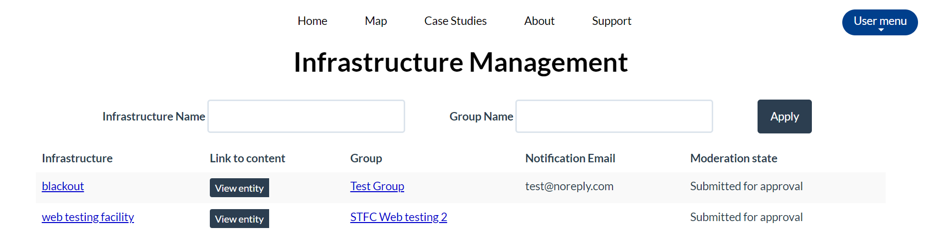 infrastructure management page screenshot